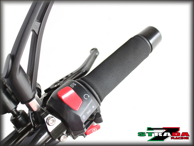 Strada 7 Racing CNC Red Handle Bar Ends Honda GROM CB1000R CBR250R CBR300R